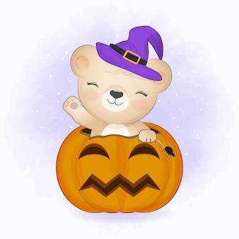 Ours mignon avec citrouille et illustration d'halloween animal cartoon dessiné