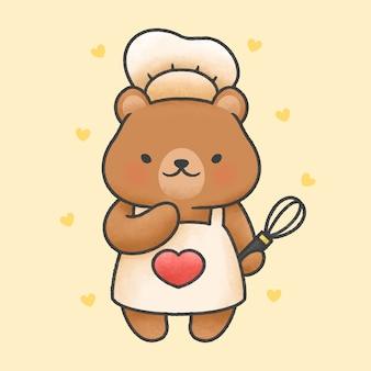 Ours mignon cuisine style dessiné à la main de dessin animé