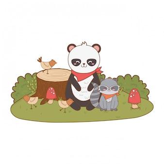 Ours mignon dans le caractère bois tronc