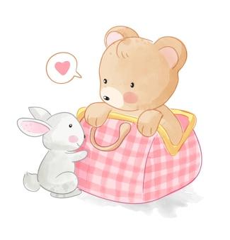 Ours mignon dans un sac avec illustration de lapin
