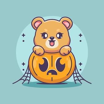 Ours mignon avec dessin animé citrouille