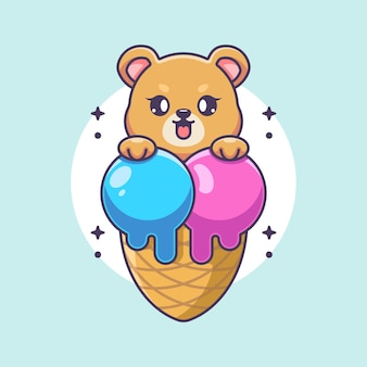 Ours mignon avec dessin animé cornet de crème glacée