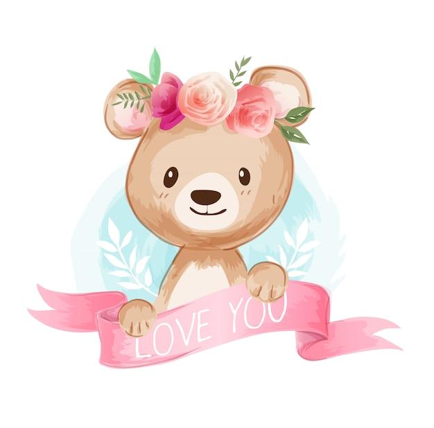 Ours mignon dessin animé sur illustration couronne florale