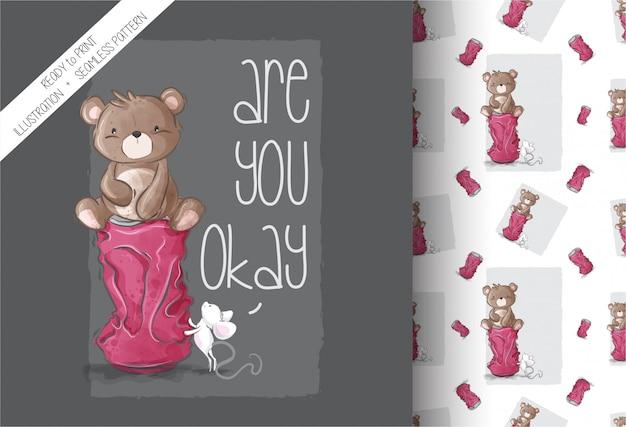 Ours mignon dessin animé avec motif sans couture bébé souris