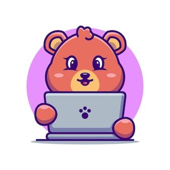 Ours mignon avec dessin animé pour ordinateur portable