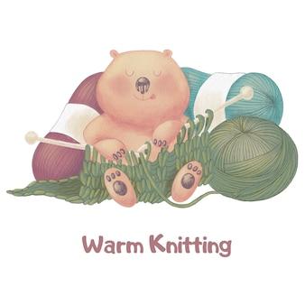 Ours mignon dessin animé avec le tricot