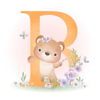 Ours mignon doodle avec illustration florale