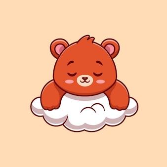 Ours mignon dormant sur l'illustration de dessin animé de nuage. concept de nature animale isolé. style de dessin animé plat