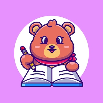 Ours mignon écrit sur livre avec dessin animé au crayon