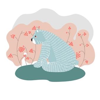 Ours mignon sur fond d'arbres. illustration dessinée à la main dans un style scandinave