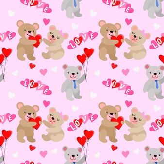 Ours mignon et forme de coeur avec modèle sans couture de ballon.