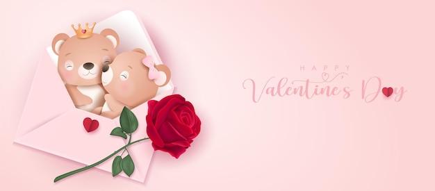Ours mignon de griffonnage pour la saint valentin en bannière de style papier
