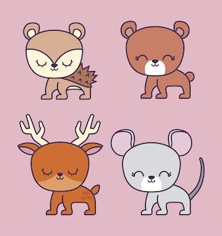 Ours mignon avec groupe d'animaux