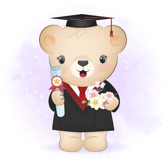 Ours mignon en illustration de dessin animé de costume de remise des diplômes