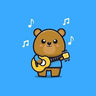 Ours mignon jouant de la guitare