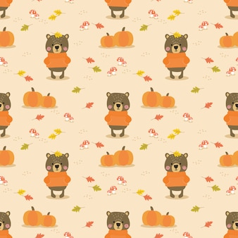 Ours mignon en modèle sans couture automne