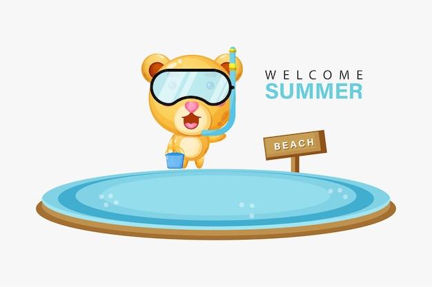 Ours mignon nageant sur la plage avec des salutations d'été