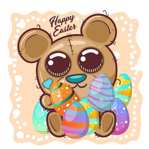 Ours mignon avec oeuf de pâques heureux. vecteur