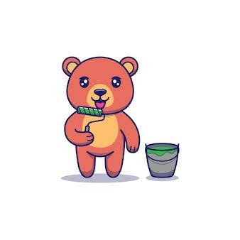 Ours mignon avec outil de peinture