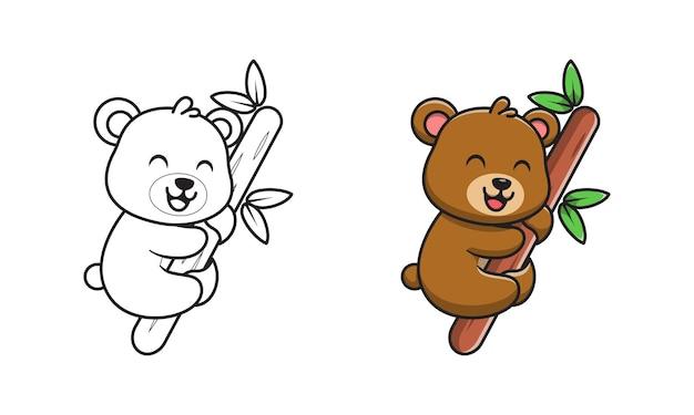 Ours mignon sur des pages de coloriage de dessin animé en bois pour les enfants