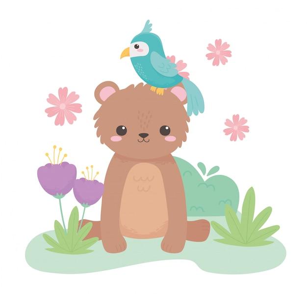 Ours mignon et perroquet fleurs herbe animaux de dessin animé dans un paysage naturel