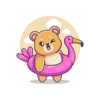 Ours mignon portant une bande dessinée d'anneau de bain flamant rose
