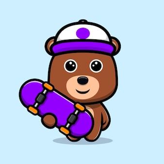 Ours mignon portant un chapeau et jouant au personnage de dessin animé de skateboard