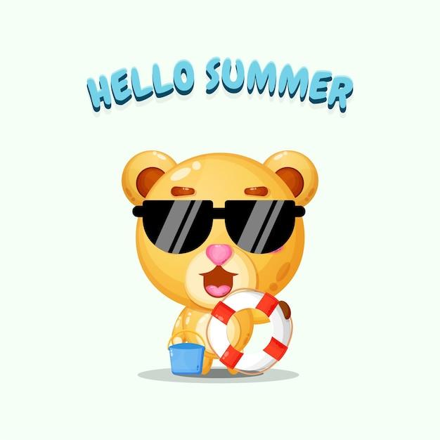 Ours mignon portant un char avec des salutations d'été