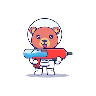 Ours mignon portant un costume d'astronaute portant une arme à feu