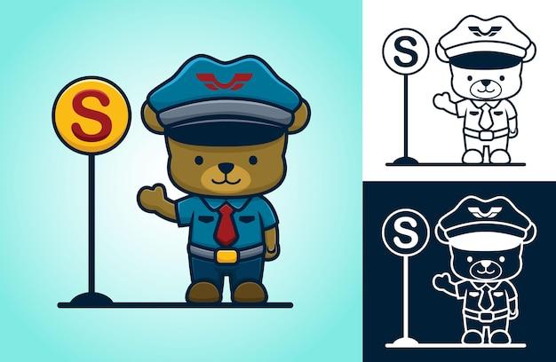 Ours mignon portant l'uniforme de flic de la circulation debout à côté d'un panneau de signalisation. illustration de dessin animé dans le style d'icône plate
