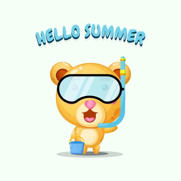 Ours mignon portant des vêtements de plongée avec des salutations d'été