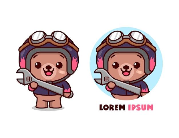 Un ours mignon porte un casque et une veste et apporte une clé dans le style de cartoon