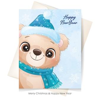 Ours mignon pour noël avec illustration aquarelle