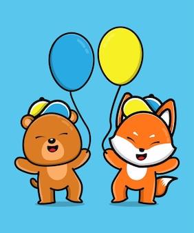 Ours mignon et renard tiennent une illustration de dessin animé pour un ami animal ballon