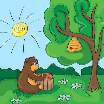 Ours mignon de scène de dessin animé drôle de vecteur avec du miel
