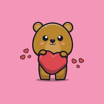 Ours mignon tenant illustration d'icône de dessin animé d'amour
