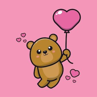 Ours mignon tenant illustration d'icône de dessin animé de ballon d'amour