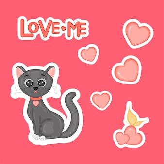 Ours mignon sur un vélo avec des coeurs pour la saint-valentin en style cartoon. lettrage d'amour. autocollants.