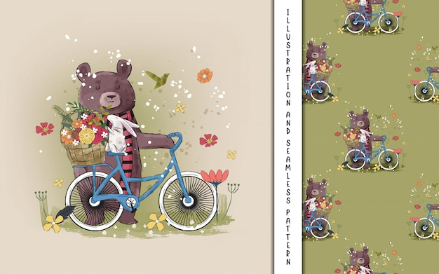 Ours mignon avec un vélo avec des fleurs pour les enfants