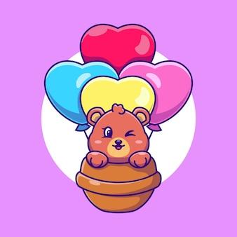 Ours mignon volant avec caricature de ballon d'amour