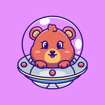 Ours mignon volant avec dessin animé ovni de vaisseau spatial