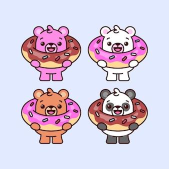 Des ours mignons apporte un grand donut