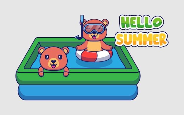 Ours mignons avec bannière de voeux d'été bonjour