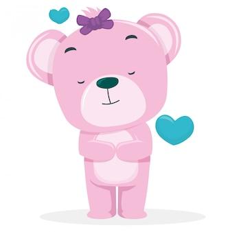 Des ours mignons espèrent devenir partenaire le jour de la saint-valentin