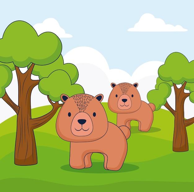 Ours mignons sur la forêt