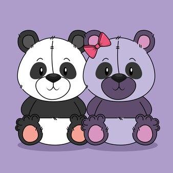 Ours mignons pandas caractères en couple