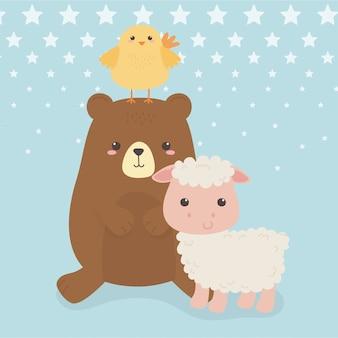Ours et moutons mignons avec personnages de ferme animaux poussins