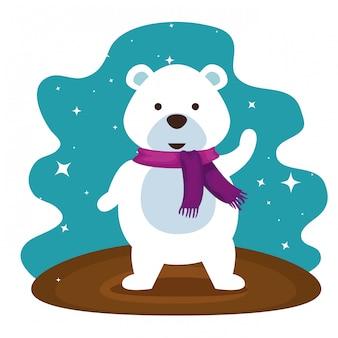 Ours des neiges avec une écharpe pour célébrer noël