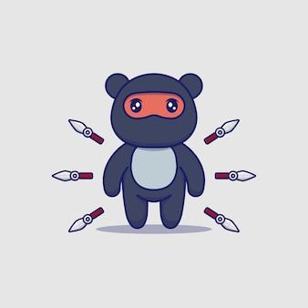 Ours ninja mignon avec des armes