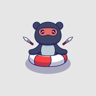 Ours ninja mignon nageant avec anneau en caoutchouc